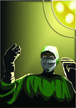 enfermera con cofia: cirujano