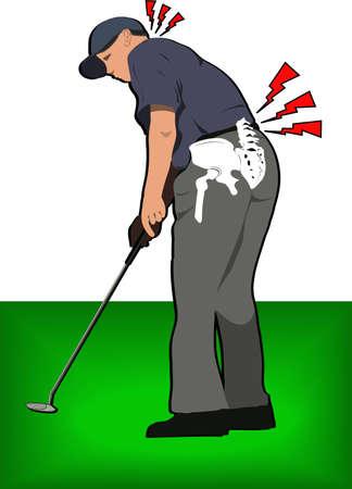 spine pain: golf dolor de espalda Vectores