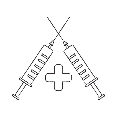 Logo for the health with two syringes.