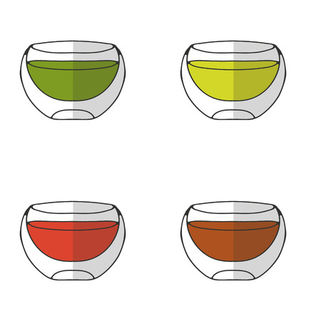 A set of drinking bowls with double walls. Illustration