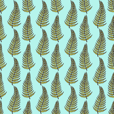 ferns: The pattern of curved ferns on a blue background. Illustration