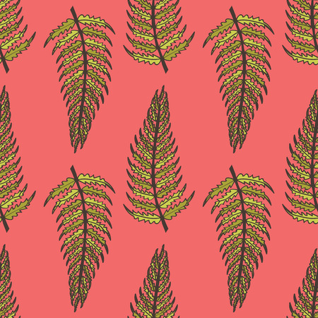 ferns: Pink seamless pattern with yellow and green ferns