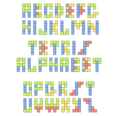 constructive: Tetris retro funny font. Constructive colorful alphabet