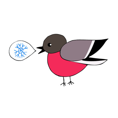 says: Isolated hand drawn red bullfinch says snowflake Illustration