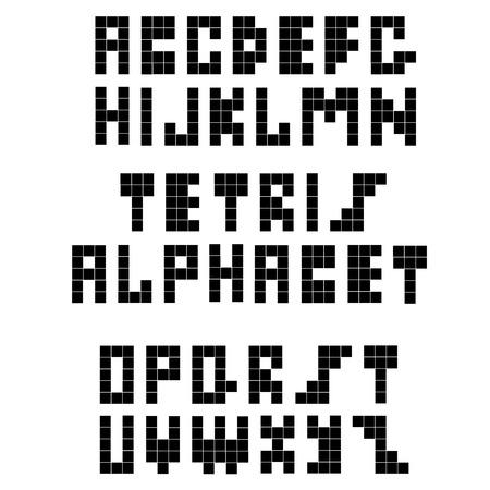 constructive: Pixel retro font. Constructive black alphabet for a white background