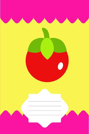 Fruit label, sticker, tag with tomato in a flat style. Ilustração