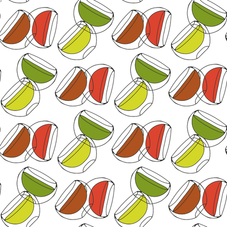 mate infusion: Seamless pattern. Cups of tea glass with double walls. Stock Photo