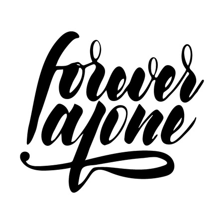 Forever: phrase for Valentines Day with heart. Brush calligraphy, hand lettering