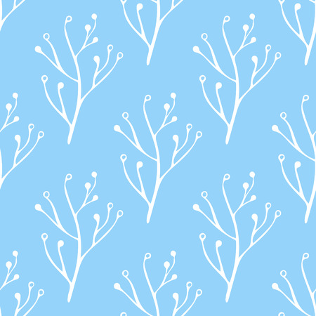 Seamless blue and white hand drawn, doodle, floral vector pattern for background, backdrop.