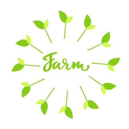 Farm hand drawn logo, lable. Vector illustration Illustration