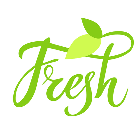 a sprig: Fresh hand drawn logo, lable. Vector illustration eps 10 for food and drink, restaurants, menu, bio markets and organic products. Brush lettering, calligraphy Stock Photo