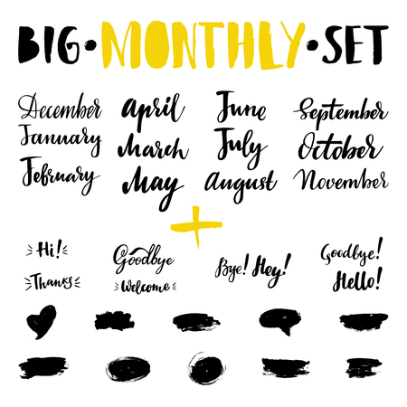 Big vector hand-drawn calligraphic isolated monthly set with months, greeting and farewell. Brush calligraphy, hand lettering. For schedule, diary, journal, postcard.