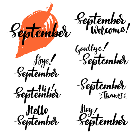 Hello, bye, thanks September fall calligraphic set. Vector isolated illustration: brush calligraphy, hand lettering. For calendar, schedule, diary, journal, postcard, label, sticker and decor.