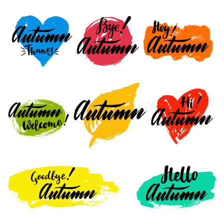 Autumn calligraphic set with spot on the background. Brush calligraphy, hand lettering. For calendar, schedule, diary, journal, postcard, label, sticker and decor