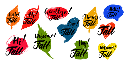 Fall calligraphic set with spot on the background. Brush calligraphy, hand lettering. For calendar, schedule, diary, journal, postcard, label, sticker and decor.