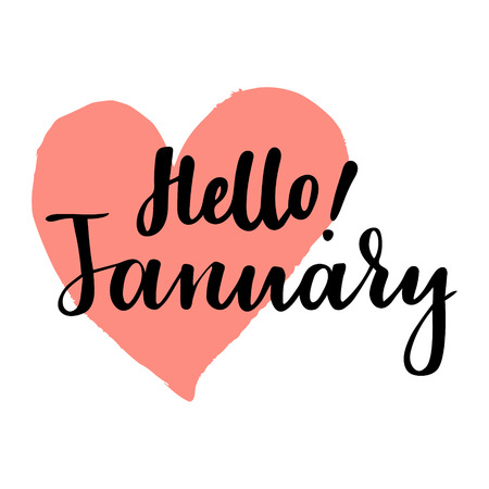Card with phrase hello January brush calligraphy hand lettering inspirational typography poster.