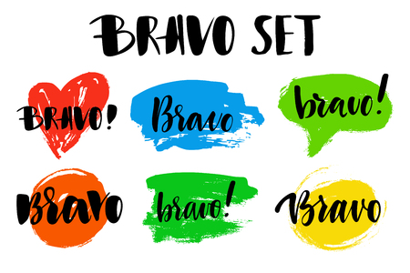Bravo greeting and congratulation set. A phrase for successful and good works with a spot on the background. Vector isolated illustration: brush calligraphy, hand lettering.