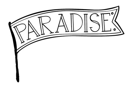The word paradise inside the flag. Isolated vector, calligraphic phrase. Hand calligraphy. Modern design for logo, banners emblems, prints, photo overlays, t-shirts, posters, greeting card.