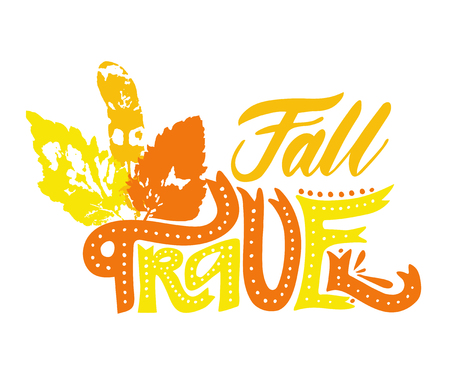 Fall travel with orange, yellow, red leaves. Vector, calligraphic phrase. Hand calligraphy. Modern seasonal tourist design for logo, banners, emblems, prints, photo overlays, t shirts, posters, card.