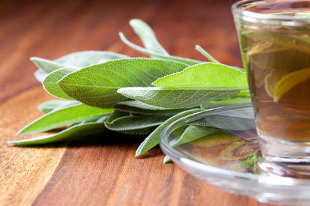 sage tea in transpartent teacup, sage leaf inside teacup, bunch of sage beside, wooden floor, closeup,