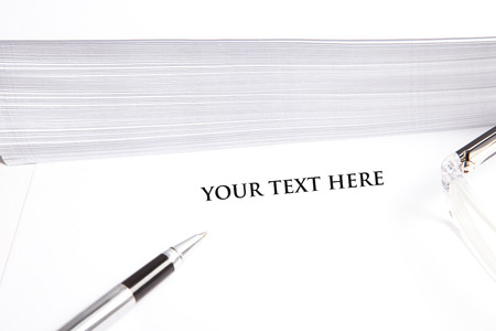 blank white document for sample text, with glasses, pen and evelopes photo