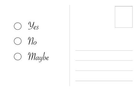 Postkarte Mit Ja Nein Vielleicht Entscheidung Kostenlose