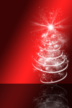 christmas greeting card, red and black background, reflection, white christmas tree