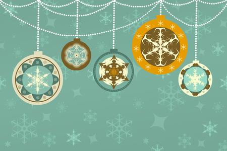 blue christmas background: retro christmas background with colorful baubles with snowflakes, empty text space