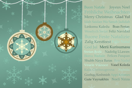 christmas greetings in many languages on retro christmas background, photo