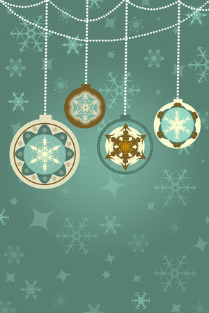 christmas ball: retro christmas background with baubles, snowflakes, ornaments, space for own text