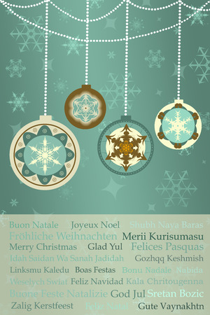 christmas greetings on retro christmas background with baubles, snowflakes, ornaments photo