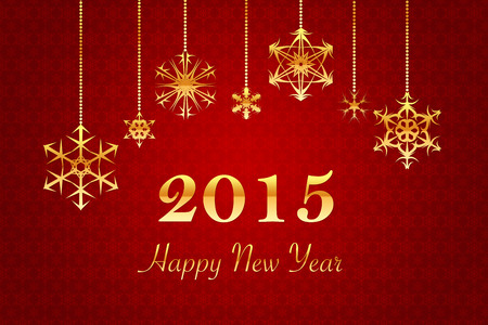 red retro Background with golden Happy New Year 2015 letters photo