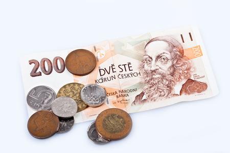 czech republic coin: former czech republic money, czech koruna banknotes and coins Stock Photo