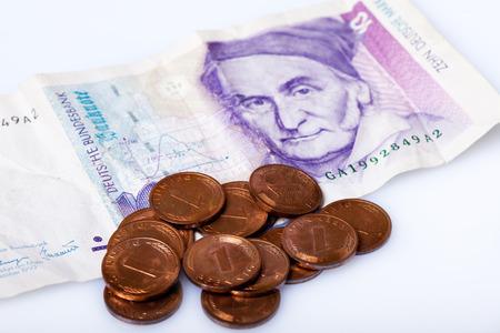 former german banknote and coins, deutschmarks,