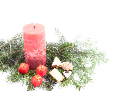 ?text space?: christmas background with candle, cookies and fir branch, on white background with empty text space