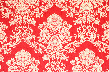 baroque wallpaper: red and golden baroque wallpaper with floral ornaments Stock Photo