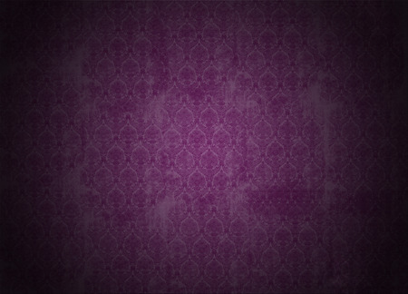 victorian wallpaper: purple wallpaper illustration with victorian design, grunge background with ancient floral texture, vignette Stock Photo