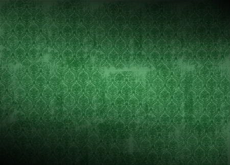 victorian wallpaper: green victorian wallpaper illustration, grunge background with ancient floral texture, vignette