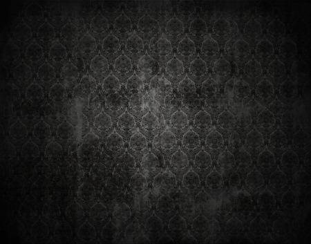 victorian wallpaper: black wallpaper background, victorian floral texture, grunged, vignette, Stock Photo