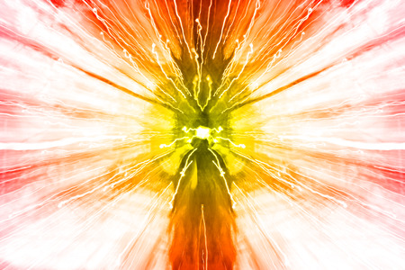 zoomed: explosion background with defocused and zoomed christmas tree lights, red, orange, yellow vignette