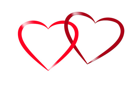 entwined: illustration of two intertwined red hearts with glaumour effect, design for valentine and wedding greeting card,