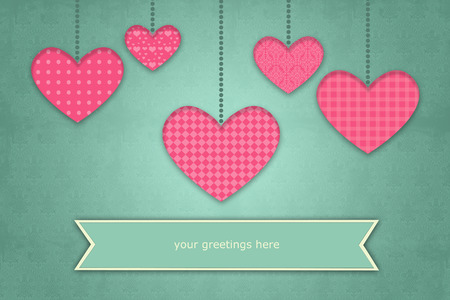 arrow poison: valentine greeting card illustration on retro background with pink heart shapes