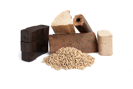briquettes: different sorts of fossil fuels, wooden pellets, briquettes, dried firewood, and carbon on white background, isolated,