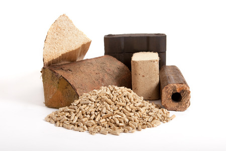 briquettes: collection of fossil fuels on white background, isolated, firewood, coal, wooden briquettes and oven pellets,