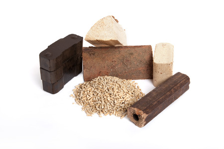 fossil fuels: different fossil fuels on white background, carbon, ovenwood, pellets, briquettes,