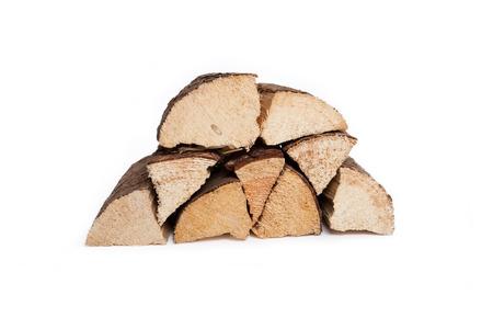 seasoned: log pile of dried hard wood, white background, isolated,