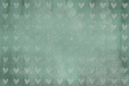 heart background, used design, grunge texture, dark green with white heart shapes photo