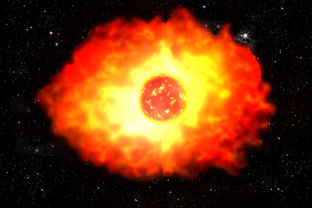 starlit: planet explosion in universe illustration on starry sky Stock Photo