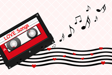 love song: cassette tape illustration with love song message, sheet music and heart shapes on vintage pink background Stock Photo