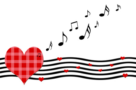 romantic love: love song greeting card with sheet music and heart shapes on white background